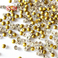 SS29 6.2-6.4mm  Clear Color  Point back Rhinestone Crystal Glass Chatons Strass Super shiny plating welding Plating