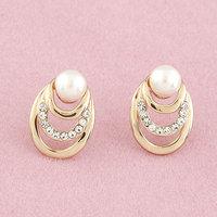 Oval Gold-plated Channel Pearl Stud Earrings CZ Diamond Brincos Grandes De Festa Jewelry for Women Pendientes Accessories Bijoux