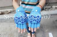 Hot Korean Winter Autumn Semi-finger Multifunctional Man Flip Knitted Wool Lady Gloves Women