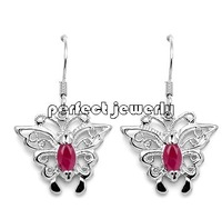 Ruby earring Natural ruby Free shipping Drop earring  925 sterling silver plate 18k white gold #14092901