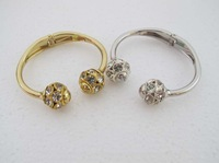 Gold GP Fashion women Open Bangle Bracelet with Ball SY015 Crystal Free shipping