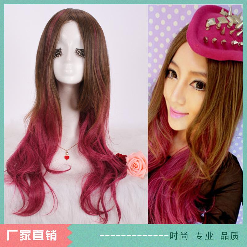 Lan Meier daily spot fake gradual blending of Harajuku Lolita cosplaly long curly hair wig C45(China (Mainland))