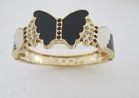 Gold GP Fashion women Butterfly Design Bangle Bracelet SY019 Crystal Free Gift