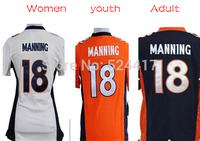 Manning Jersey,Stitched 18# Payton Manning American Football Jersey Game Day Version,Mens Women Kids white/orange/blue Free Ship