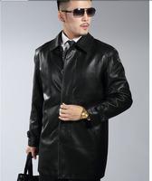 2014 business casual sheepskin medium-long leather jacket men genuine sheepskin coat top quality suit outerwear