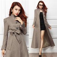 Autumn Fashion Elegant Womens Woolen Slim Long Trench Coat , Female 2014 New Arrival Formal High Waist Wool Dust Coat For Woman