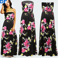 2014 New Women Long Summer Dress Sexy Strapless Off Shoulder Print Dresses Floor Length Elegant Party Wedding Dresses Plus Size