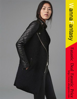 W.ZXS Free Shipping hot selling 2013 new pu leather jacket black lamb coat stitching sewing leather sleeve coat hot2