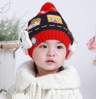 New 5pcs/lot baby winter warm hats knitted beanie cap children ski headwear free shipping
