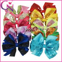 "30 Pcs/lot 5"" Baby Handmade Sequin Hair Bow,Pinwheel Sequin Hair Bow For Kids,Girls Satin Hair Bow With Sequin CNHBW-14092604"