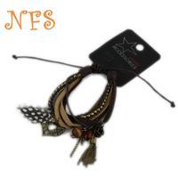 Personalized Accessories complex leather bracelet, fashion feather bracelet, multi- pendant tassel bracelet