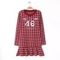 Fashion women's casual winter plaids A-line skater mini dress red black color DR9539