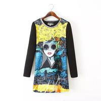 Fashion women's casual black cartoon girl printed long sleeve straight bodycon dress DR9573