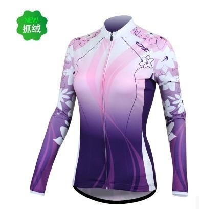 roxo santic andar de bicicleta senhora blusa manga longa levar roupas quentes exterior de longo- top manga c01014 bicicleta vestuário feminino(China (Mainland))