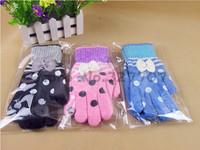 Korean Cute Winter Autumn Cashmere Knitted Wool Lady Girl Gloves Women Bow Dot Warm Mittens