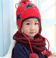 5pcs/lot Star design baby woolen caps winter warm hats children outdoor earmuff 4colors free shipping