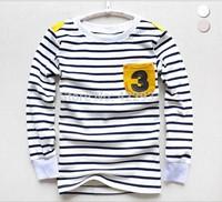 Retail Brand 2014 New 100% Cotton BoysT-shirt Top Long Sleeve Strip Tshirts Boys Top Full Sleeve 100-160