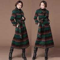 Autumn Formal Fashion Elegant Women's Striped Woolen X-long Woolen Trench Coat  Female European Style Women Wool Slim Dust Coats