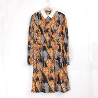 Fashion women's casual brown violin printed long sleeve straight sheath dress DR5169