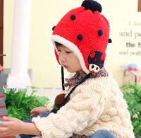 5pcs/lot Ladybug design kid warm woolen cap winter hats outdoor baby outdoor earmuff caps 5colors free shipping