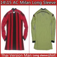 Free Shipping 2015 AC Milan Jersey KAKA BALOTELLI Top Thai Quality 14 15 long sleeve third soccer Jerseys full Football Jerseys