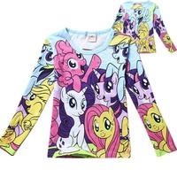 2014 Girls my little pony Spring Autumn Cartoon Children t shirt kids baby  Princess T shirt long sleeve girl tees Top shirt 309