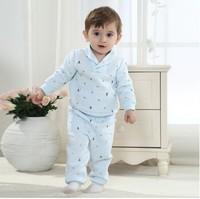 0-3T newborn baby set knitted cottton fleece pajamas set baby boy printed sweatshirts+pants  baby toddlers set
