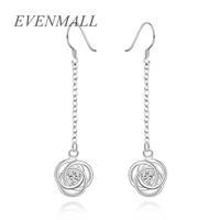Wholesale New Fashion Accessories 925 Jewelry Silver Plated Sterling CZ Diamond Rose Flower Drop Earrings Women Girl 63*14MM