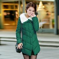 2014 winter coat  long sections Slim thin female  fur collar ladies cotton coats