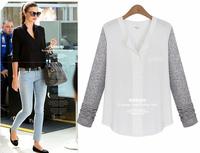 L~5XL Discounted European Style Loose Long Chiffon Shirts Women Plus Size Long Sleeve Patchwork Chiffon Spring Autumn Blouses