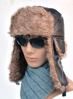 2014 cheap hat lei feng cap fashion men winter bomer hats leather ear warm lei feng cap fur cap