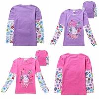 2014  kids baby peppa pig Princess T shirt Girls Spring Autumn Cartoon Children long sleeve girl tee shirt