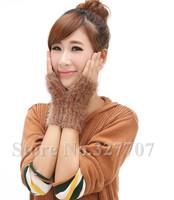 2014 New Fashion Winter Long Knitted Wool Fingerless Lady Mohair Gloves Women Arm Crochet Warmer Mitten Wholesale Retail