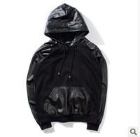 2014 men pu leather hoodies fleece sweatshirt men sportswear chandal hip hop clothing element thrasher brand men hoodie