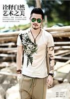 XNAN 2014 new Retro Men's V-neck printing thin T2029 short-sleeve T shirt Handsome Comfort T-shirt For Metrosexual men