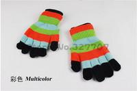 Hot Sale Korean Striped 2in1 Multifunctional Winter Dual Gloves Knitted Wool Finger Half Finger Women Gloves Mittens