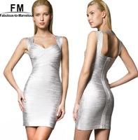 Gold Silver Backless Dress Women New Fashion Spaghetti Strap Bandage Celebrity Dresses Slim Bodycon Dress Drop Shipping AW14D048