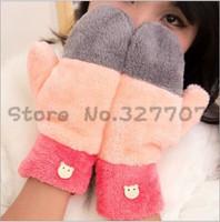 Hot Sale Winter Candy Color Women's Patchwork Gloves Hand Warmer Sweet Rainbow Plush Gloves Mittens Luvas