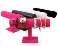 Free Shipping Wholesale/retail New Fashion Quality Velvet Bangle Bracelet Watch T-Bar Display Stand Holder Rack