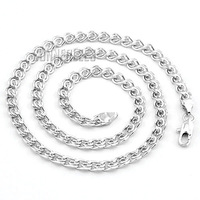 6mm New Fashion Jewelry Mens Womens Snail Link Chain 18K White Gold Filled Necklace Gold Jewellery Free Shipping C09 WN