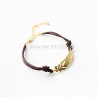 new brand gold leaf one direction leather bracelet bangle shamballa bracelet for women pulseiras femininas