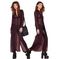 2014 fall fashion for women Vintage Plaid chiffon blouse thin sunscreen shirt sleeved shirt long