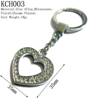 Valentine Gifts,36mm Girls Fashion Rhinestone Silver Metal Heart Keychains,Popular Lovers' Keychains,Free Shipping 100pcs/lot