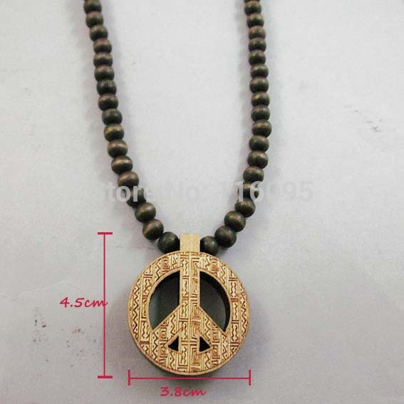 Small Pendant Peace Sign Good Wood Hip-Hop Wooden Fashion Necklace Unisex(China (Mainland))