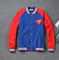 2014 new qiu dong men and women baseball shirt Superman fleece sweater cardigan jacket fashion lovers MLB baseball uniform