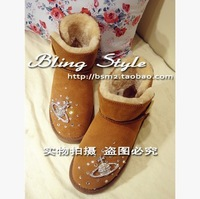 Free shipping handmade candy color sew custom sheepskin bow diamond pearl leather snow boots women