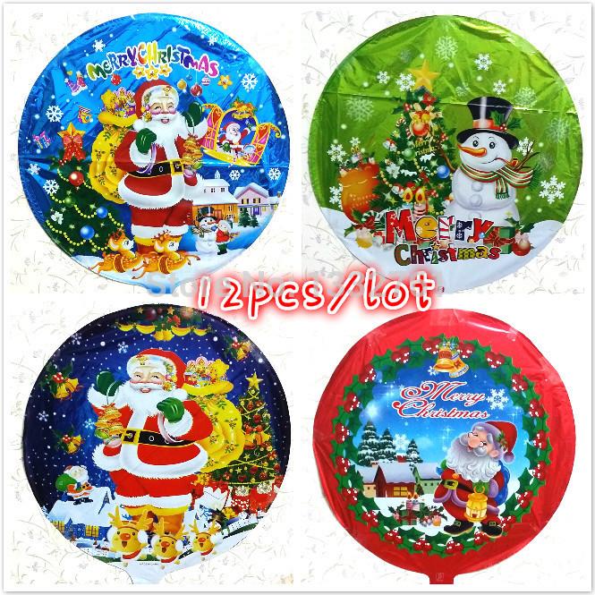 Christmas foil balloon santa clause balon snowman inflatable baloes 4designs assortment 12pcs/Set globos Xmas ballons(China (Mainland))