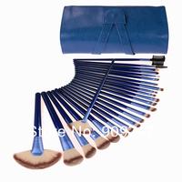 24pcs blue makeup brush set makeup toiletry kit make up brush set cosmetic brush with blue case free shipping CZ018