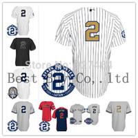 Cheap 2014 Men's Baseball Jersey NY New York #2 Derek Jeter w/Commemorative Retirement Patch,Embroidery Logos,Size M-XXXL