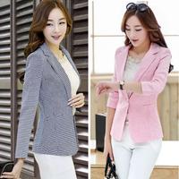 Blazer Womens Feminino New 2014 Plaid Striped Color Jackets Suit One Button Slim Linen Feminino Ladies Blazers Work Wear Blaser